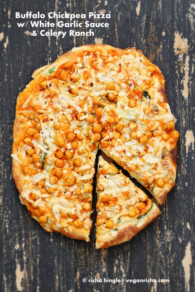 vegan buffalo chickpea pizza and recipe