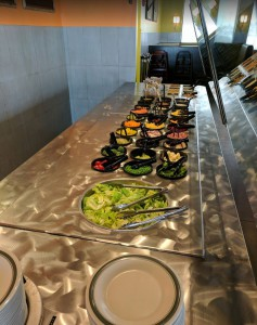 The salad bar at The Pizza Factory in Syracuse