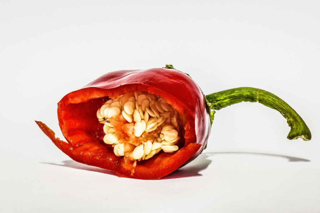 inside look at a red chili pepper